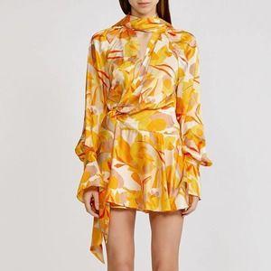 Acler Bradley Golden Abstract Dress Orange Size 6